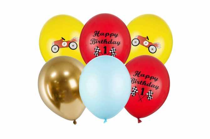 Set de 6 ballons mixtes voiture - 30cm
