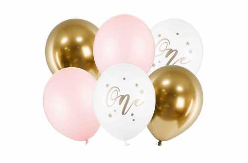 Set de 6 ballons one rose pastel et doré - 30cm