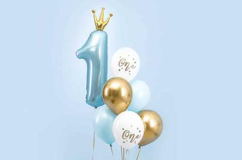 Set de 6 ballons one bleu pastel et doré - 30cm