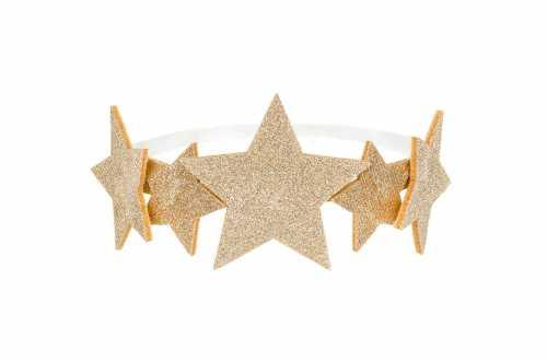 Couronne étoiles dorées pailletées - 12cm