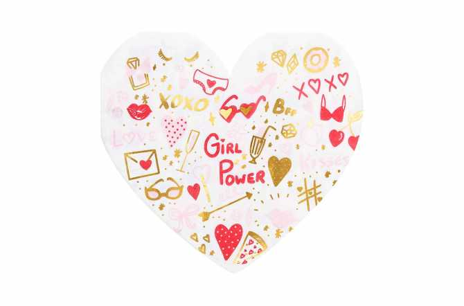 20 Serviettes cœurs aux motifs rouges et dorés