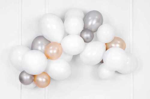 10 Ballons de baudruche  - blanc métallisé