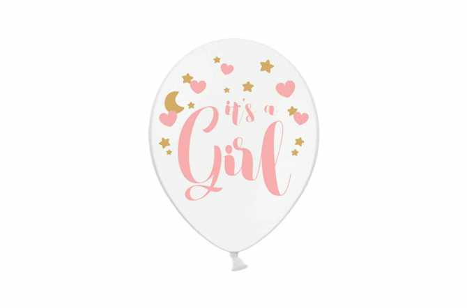 6 Ballons transparents  it's a girl pour gender reveal party ou baby shower