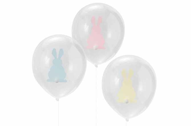 9 Ballons transparents imprimés - Lapin à queue pompon