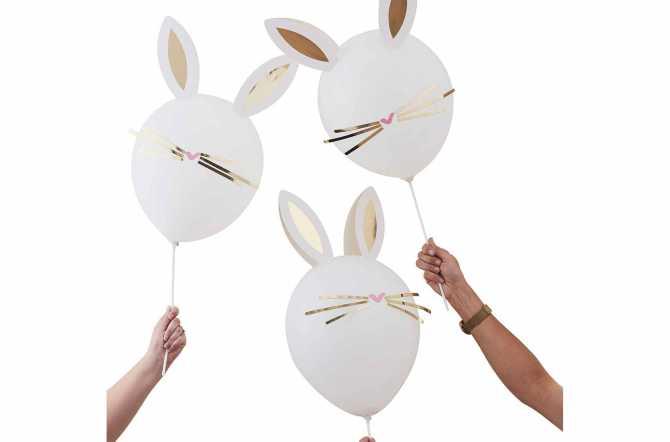 5 Ballons lapins de Pâques moustaches et oreilles dorées