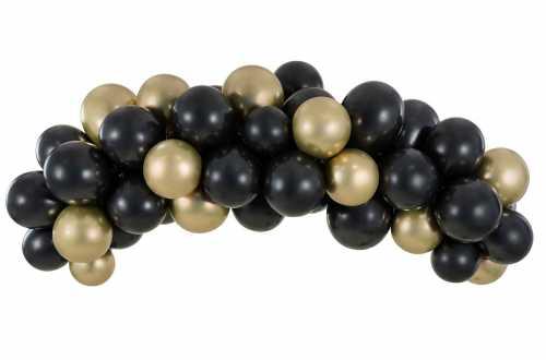 Kit Guirlande de ballons – noir et doré métalliques (60 ballons - 200 cm)