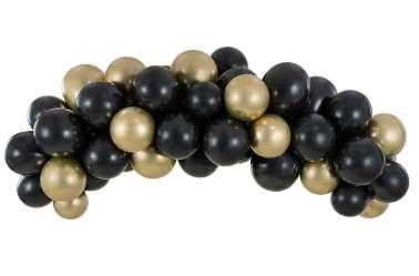 Kit arche de ballons – noir et doré métalliques (60 ballons)