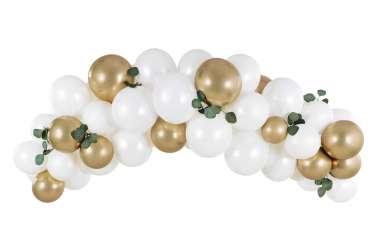 Kit arche de ballons – Blanc et doré (60 ballons)