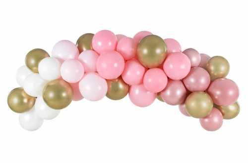 Kit arche de ballons – rose, blanc et doré (60 ballons)