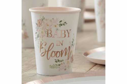 8 Gobelets fleuries pour baby shower
