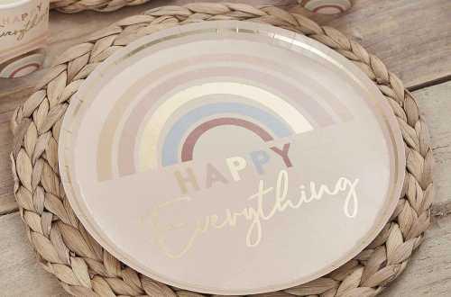 8 Assiettes Happy Everything - Arc-en-ciel