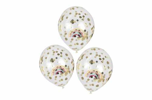 5 Ballons à confettis dorés et imprimé Arc-en-ciel