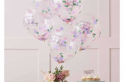 5 Ballons à confettis - Happy Flower birthday