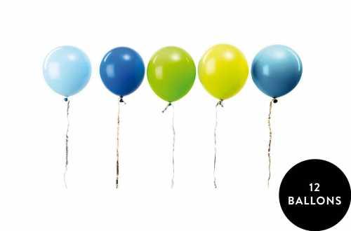 12 Ballons assortis bleu et vert mixte