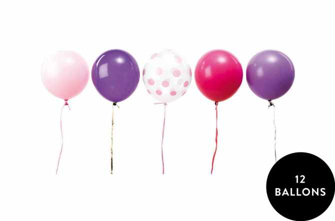 12 Ballons assortis princesse mixte