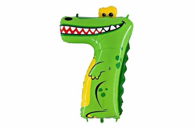 Grand ballon crocodile chiffre 7 - 102 cm