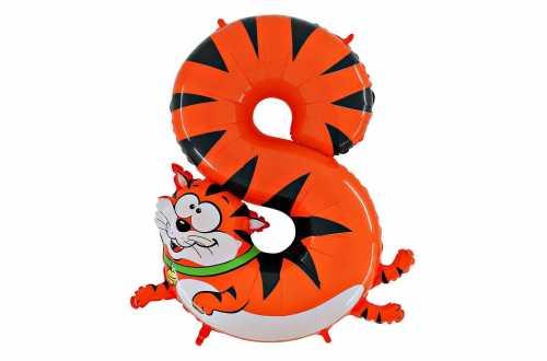 Grand ballon chat chiffre 8 - 102 cm