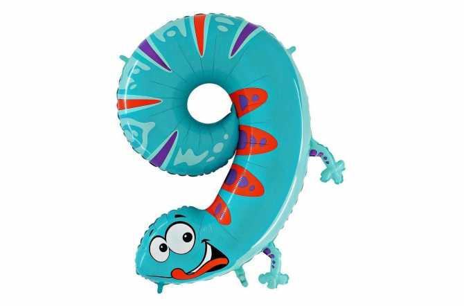 Grand ballon gecko chiffre 9 - 102 cm