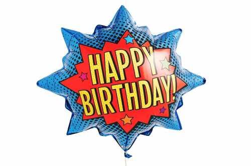 Ballon étoile super-héros Happy birthday- 81 cm