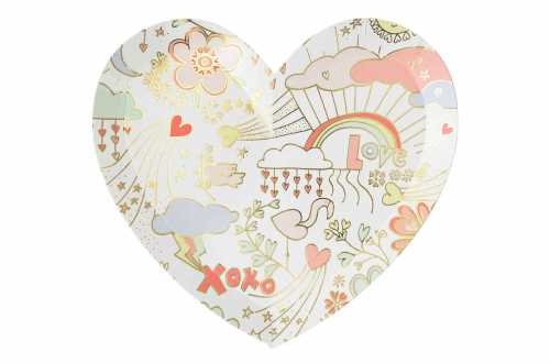 8 Assiettes coeurs - 100% girly