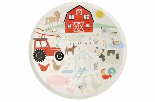 8 Grandes assiettes - La ferme et ses animaux - 26.6 cm