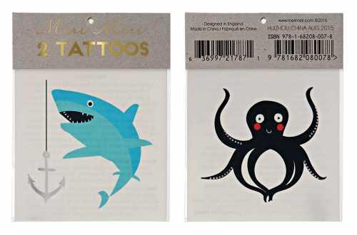 Tatouages mer et océan - Requin, pieuvre et ancre de bateau