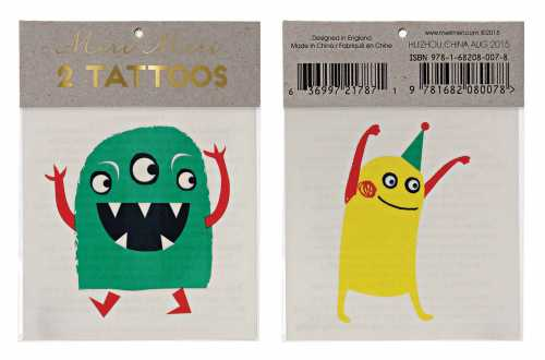 Tatouages temporaires - Monstres rigolos