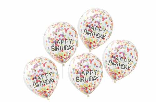 Ballons joyeux anniversaire a confettis