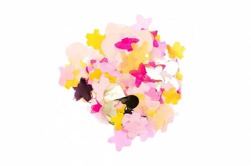 confettis fleurs rose et jaune