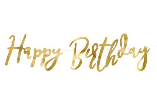 Bannière Happy Birthday doré - 62cm