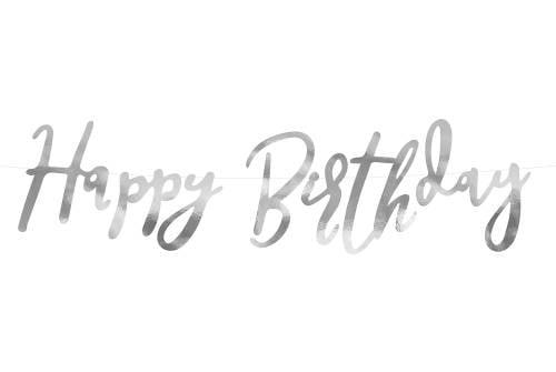 Bannière Happy Birthday argenté - 62cm