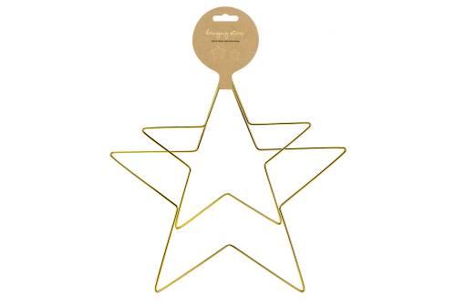 2 Grandes étoiles métalliques à suspendre doré