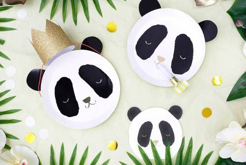 assiette et serviette panda