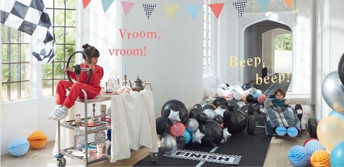 Décoration pour anniversaire enfant sur le thème voiture et course