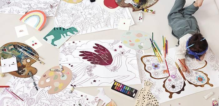 Feuille de dessin et de Coloriage pour enfant - Carte de voeux